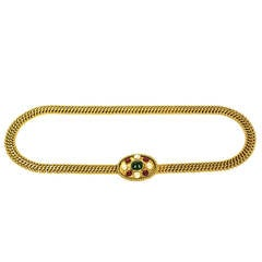 CHANEL Vintage 1950's-1960's Gold Chain Belt w/Oval Pearl & Gripoix Buckle