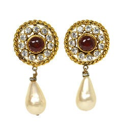 Chanel Vintage '86 Gripoix and Crystal Clip On Earrings w. Pearl Drop