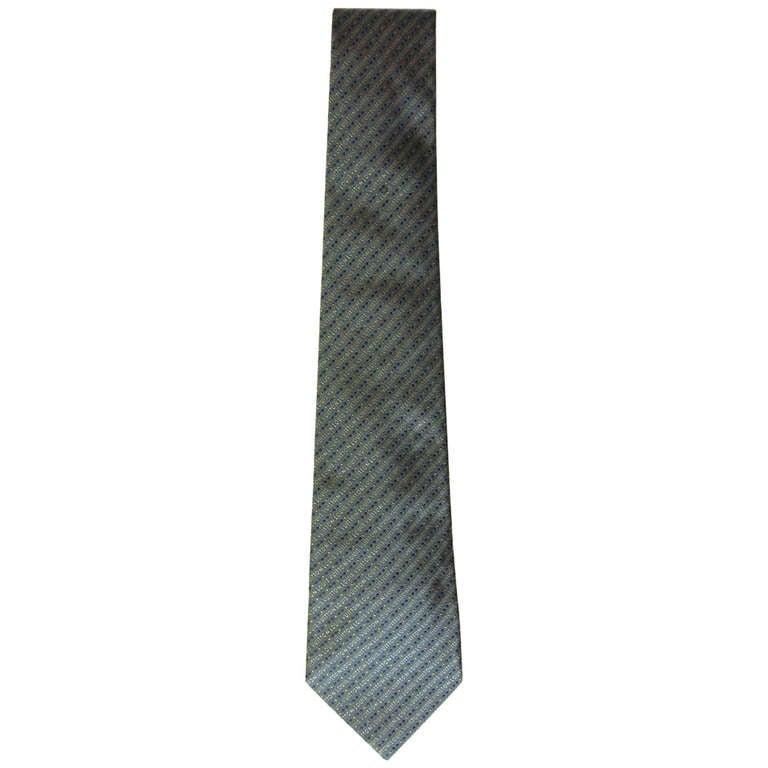 louis vuitton grey silk logo tie at 1stdibs
