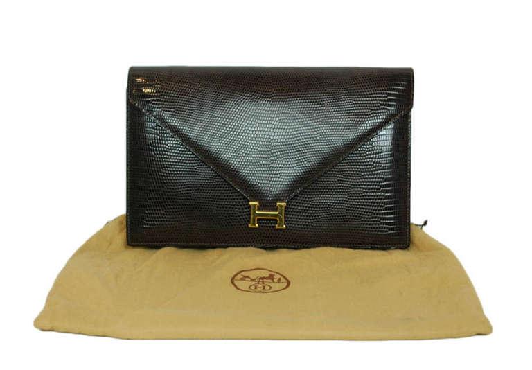 Hermes Brown Lizard H Envelope Clutch Shoulder Bag 5