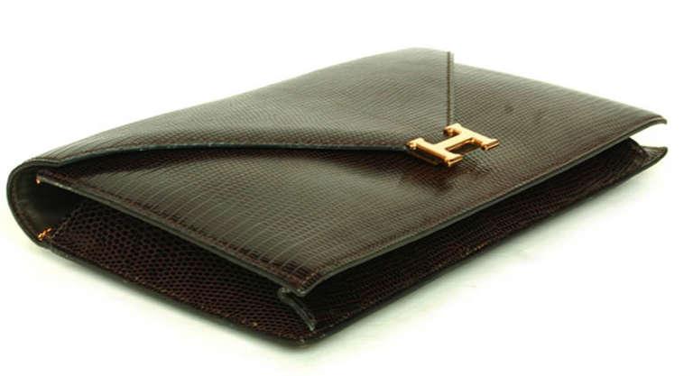 Hermes Brown Lizard H Envelope Clutch Shoulder Bag 2