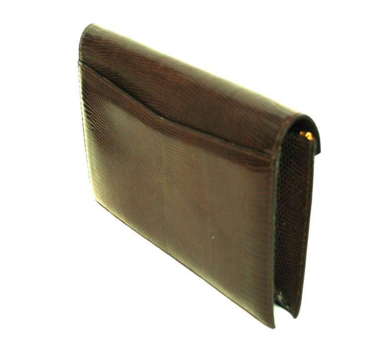 Hermes Brown Lizard H Envelope Clutch Shoulder Bag 3