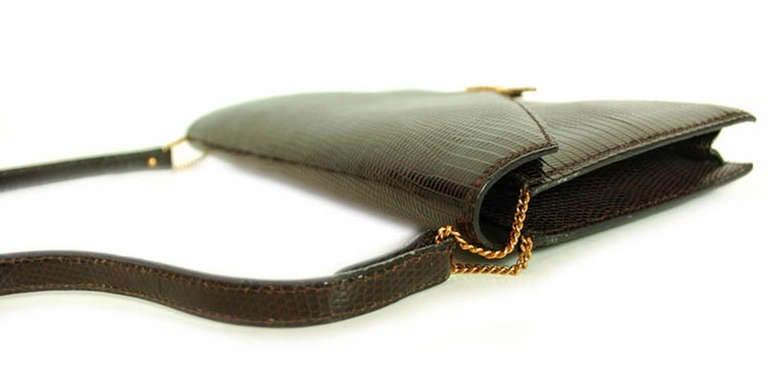 Hermes Brown Lizard H Envelope Clutch Shoulder Bag 7