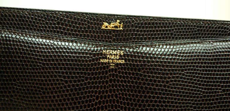 Hermes Brown Lizard H Envelope Clutch Shoulder Bag 8