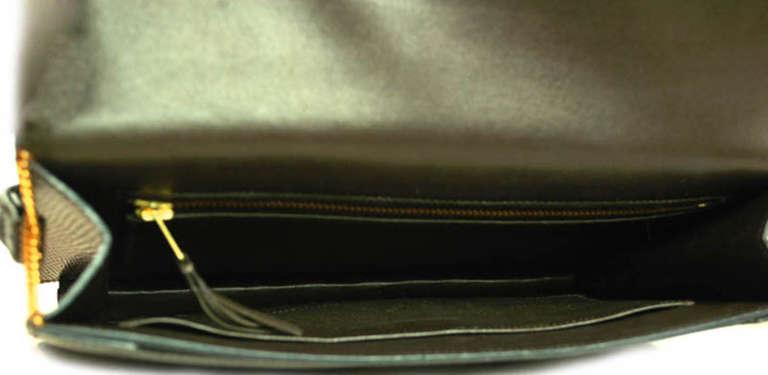 Hermes Brown Lizard H Envelope Clutch Shoulder Bag 6