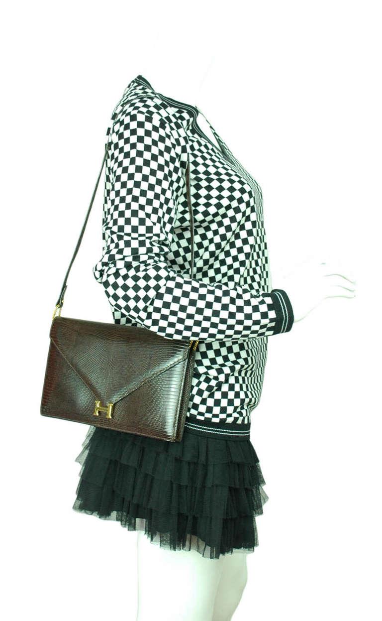 Hermes Brown Lizard H Envelope Clutch Shoulder Bag 4