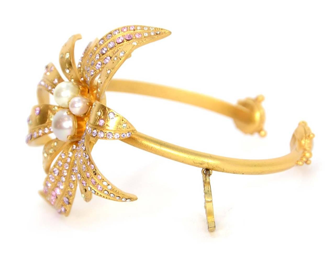 CHANEL 2002 Gold Bracelet w/Pink Rhinestone Flower & Pearls 2