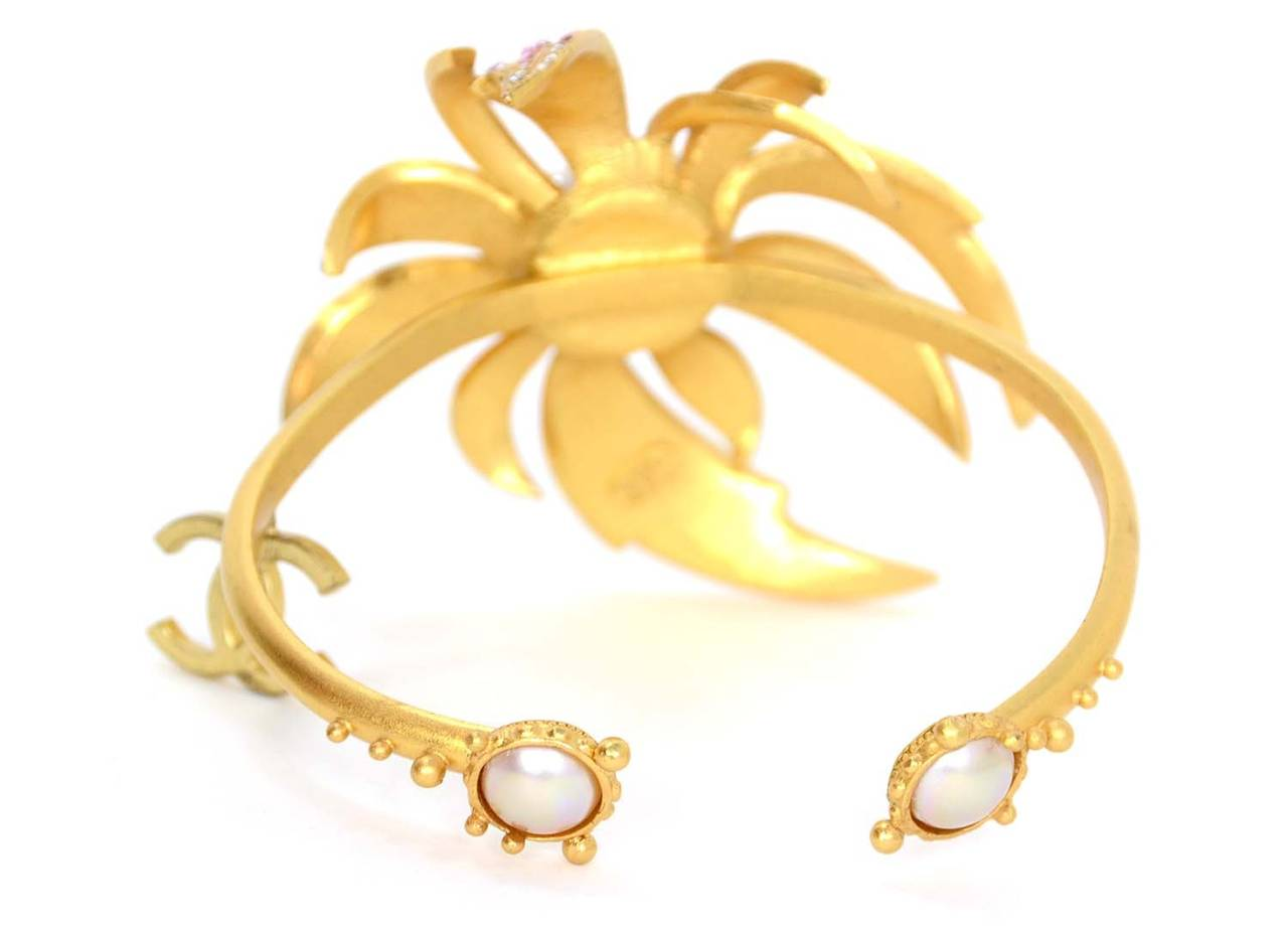 CHANEL 2002 Gold Bracelet w/Pink Rhinestone Flower & Pearls 3