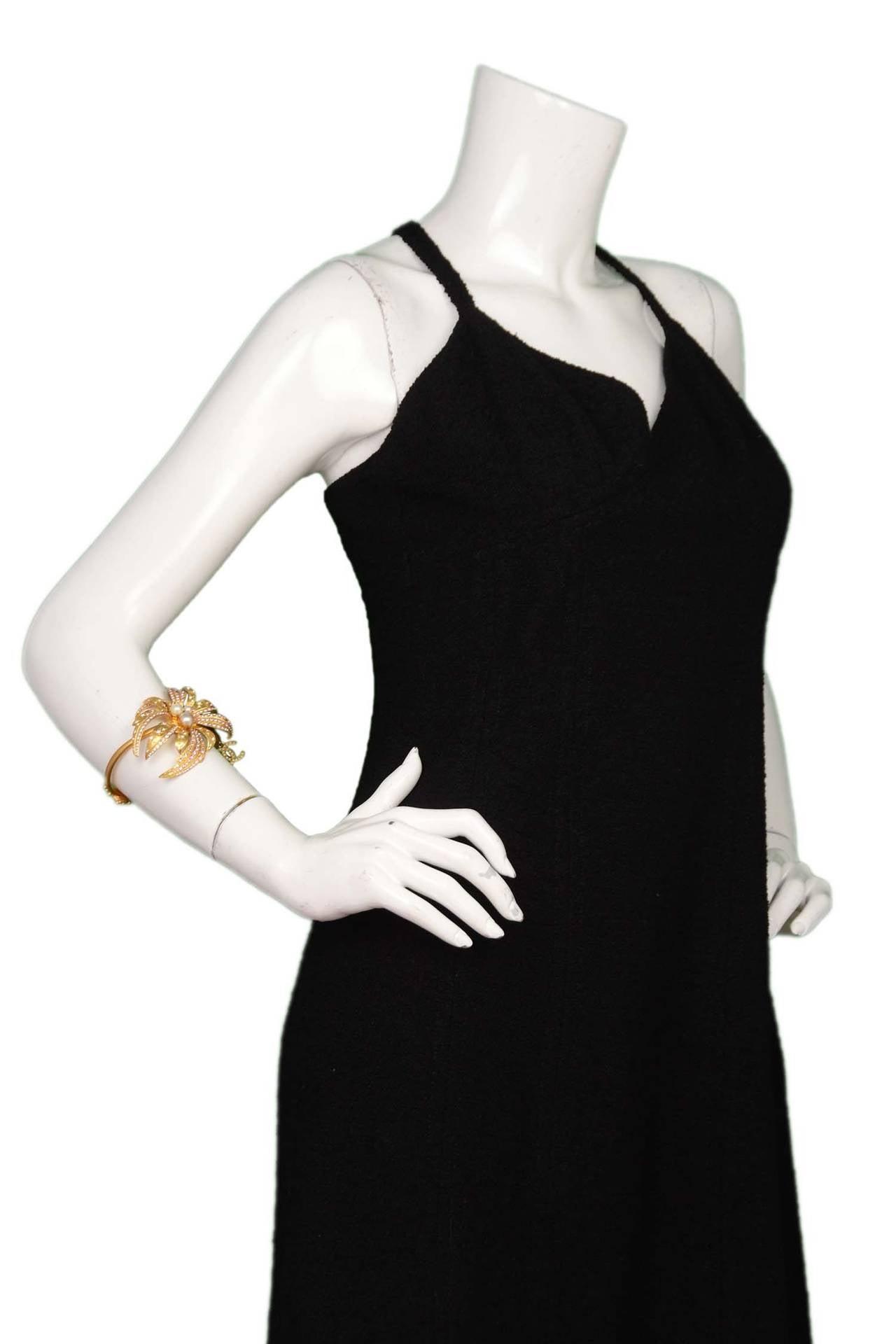 CHANEL 2002 Gold Bracelet w/Pink Rhinestone Flower & Pearls 6