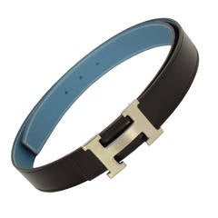 HERMES 2012 Blue/Black Togo/Box Leather Belt Kit w/Brushed Silver H Buckle