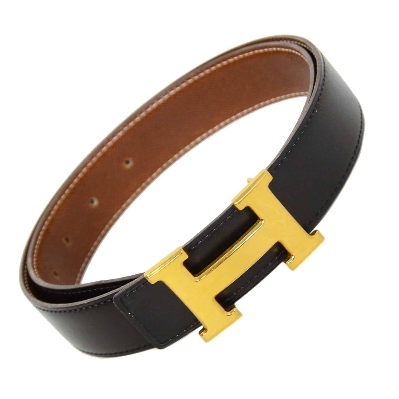 hermes 2001 reversible brown black leather belt w gold h