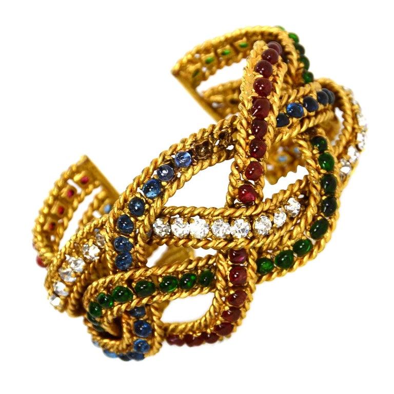 CHANEL Vintage Gripoix & Woven Gold Cuff Bracelet For Sale