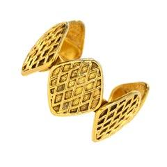 Chanel Vintage '90s Gold Quilted Medallion Cuff Bracelet