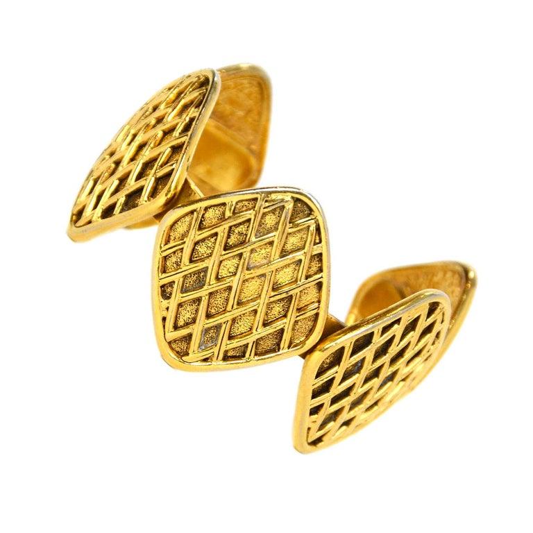 Chanel Vintage '90s Gold Quilted Medallion Cuff Bracelet For Sale