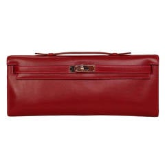 HERMES Candy Collection Rubis Box Leather Kelly Cut Clutch