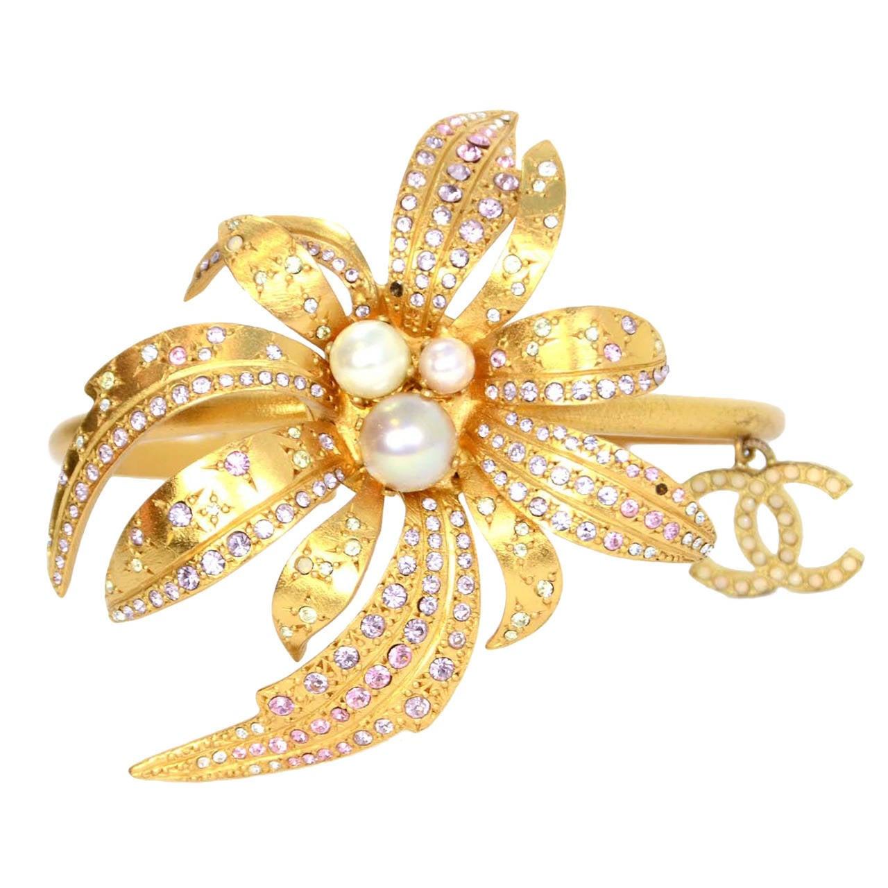 CHANEL 2002 Gold Bracelet w/Pink Rhinestone Flower & Pearls 1
