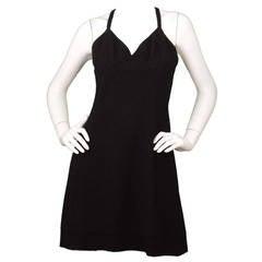 CHANEL Vintage 1994 Black Wool Spaghetti Strap Dress sz 44