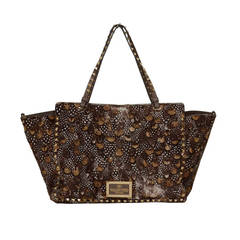 VALENTINO Brown Pony Hair Feather Print Rockstud Tote Bag