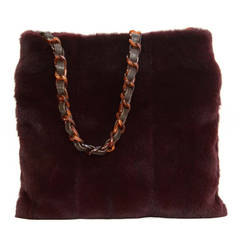 CHANEL Vintage 1997-1999 Burgundy Sheared Fur & Tortoise Messenger Bag