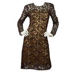 PRADA Brown Lace Long Sleeve Cocktail Dress w/Nude Slip sz 42