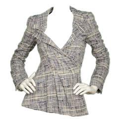 OSCAR DE LA RENTA Blue/White Tweed Jacket sz. 4 rt. $1,990