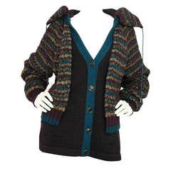 CHANEL Teal/Purple Tweed Sweater Jacket With Hood sz.44