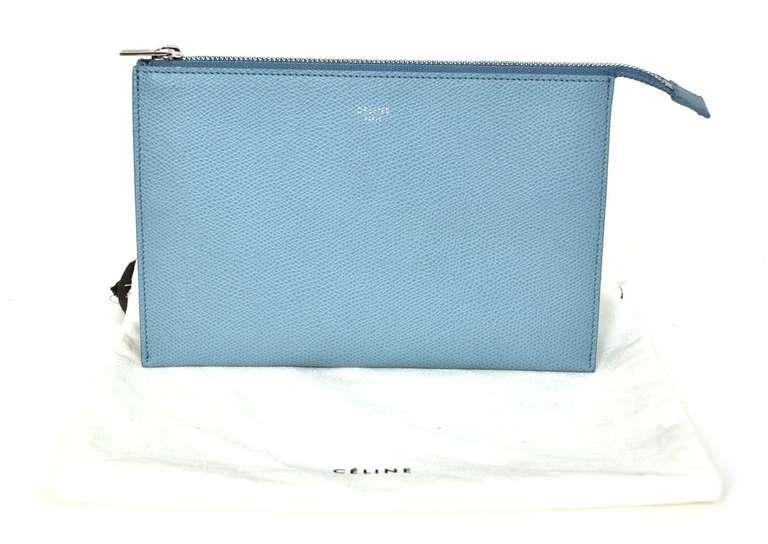 CELINE Powder Blue Small Zip Top Clutch Rt. $590 8