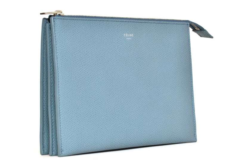 CELINE Powder Blue Small Zip Top Clutch Rt. $590 2
