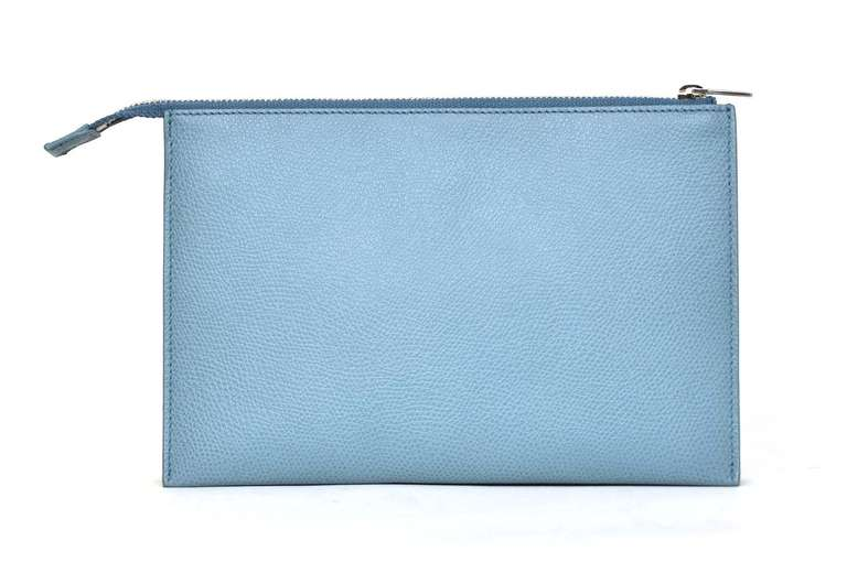 CELINE Powder Blue Small Zip Top Clutch Rt. $590 3