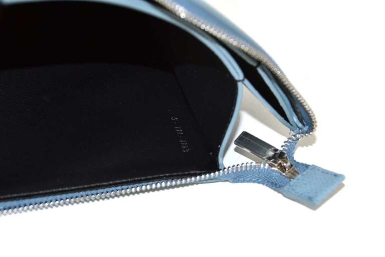 CELINE Powder Blue Small Zip Top Clutch Rt. $590 7