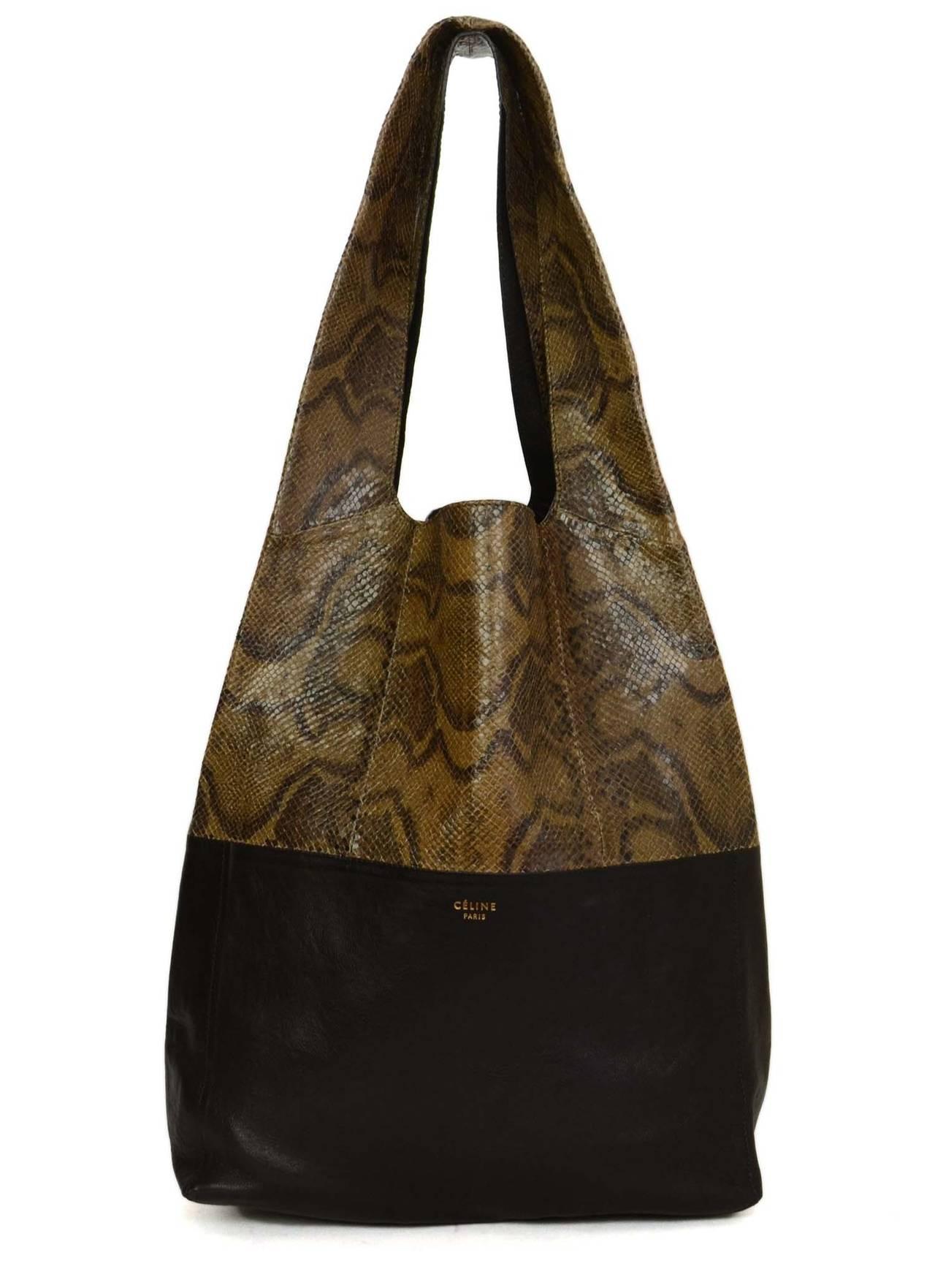 CELINE Brown/Black Snakeskin and Leather Cabas Tote Bag at 1stdibs