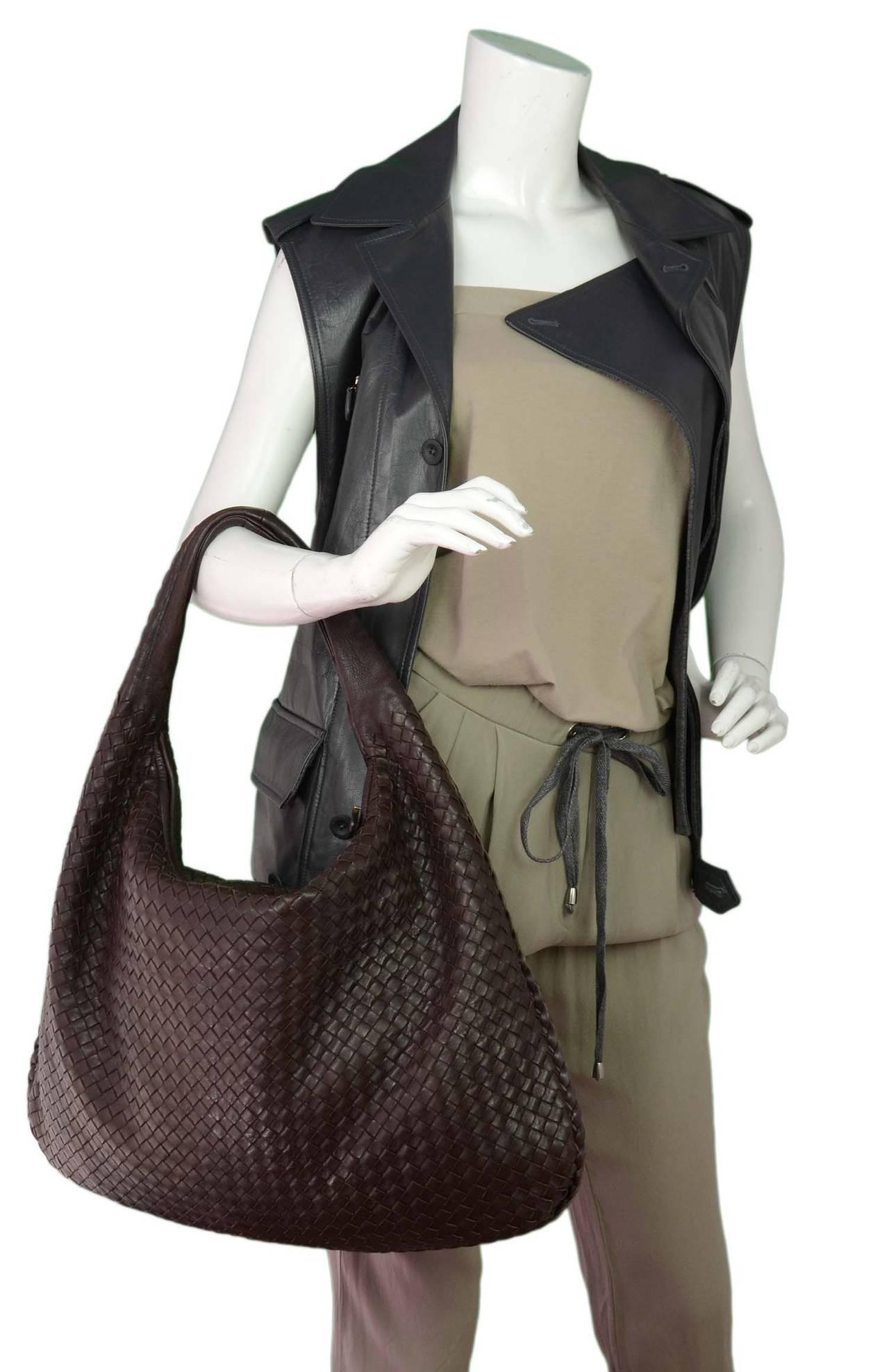 2b1782eb16 BOTTEGA VENETA Ebano Woven Leather Maxi Intrecciato Hobo Bag rt ...