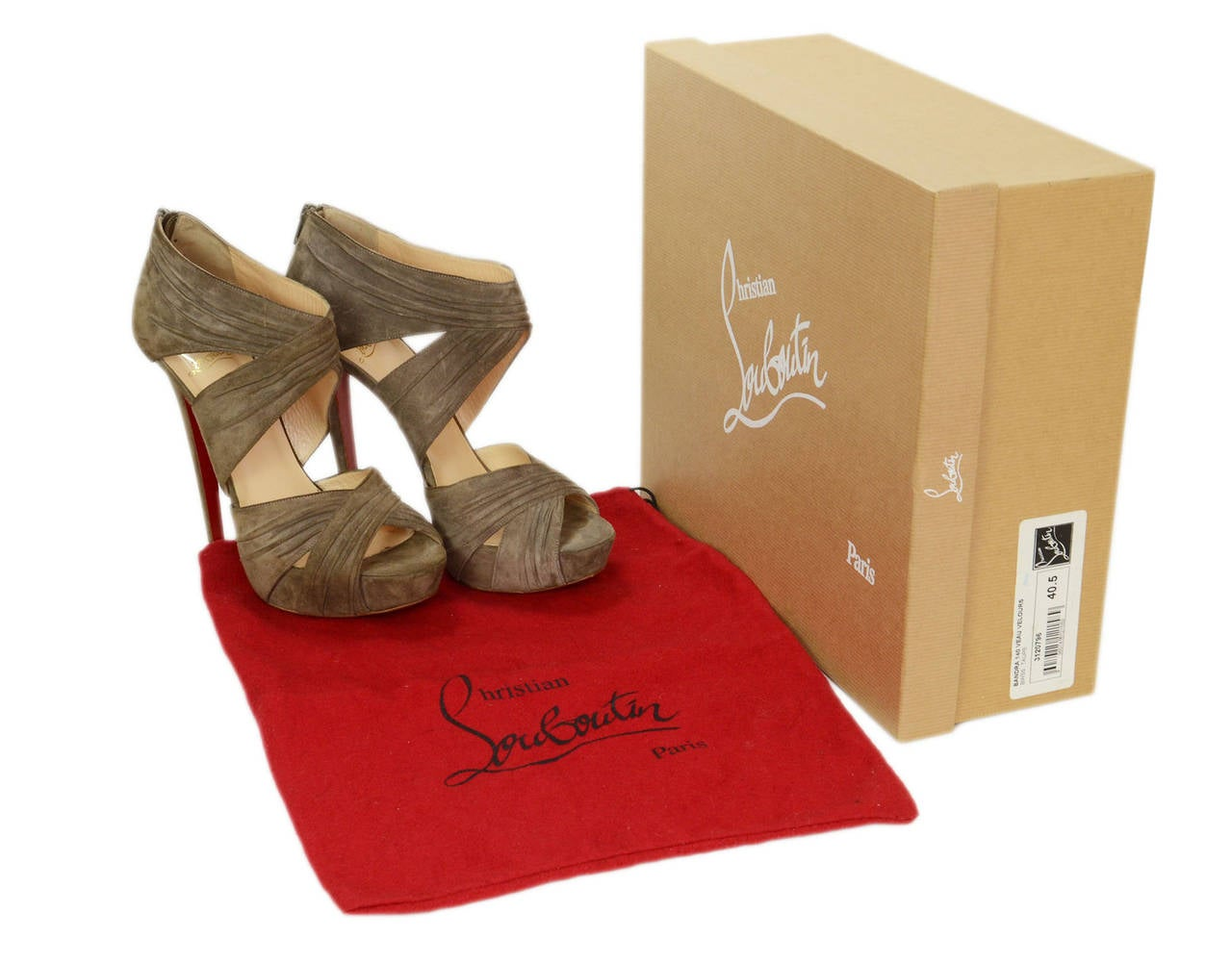 CHRISTIAN LOUBOUTIN Ruched Taupe Suede Bandra 140 Pumps sz 40.5 9