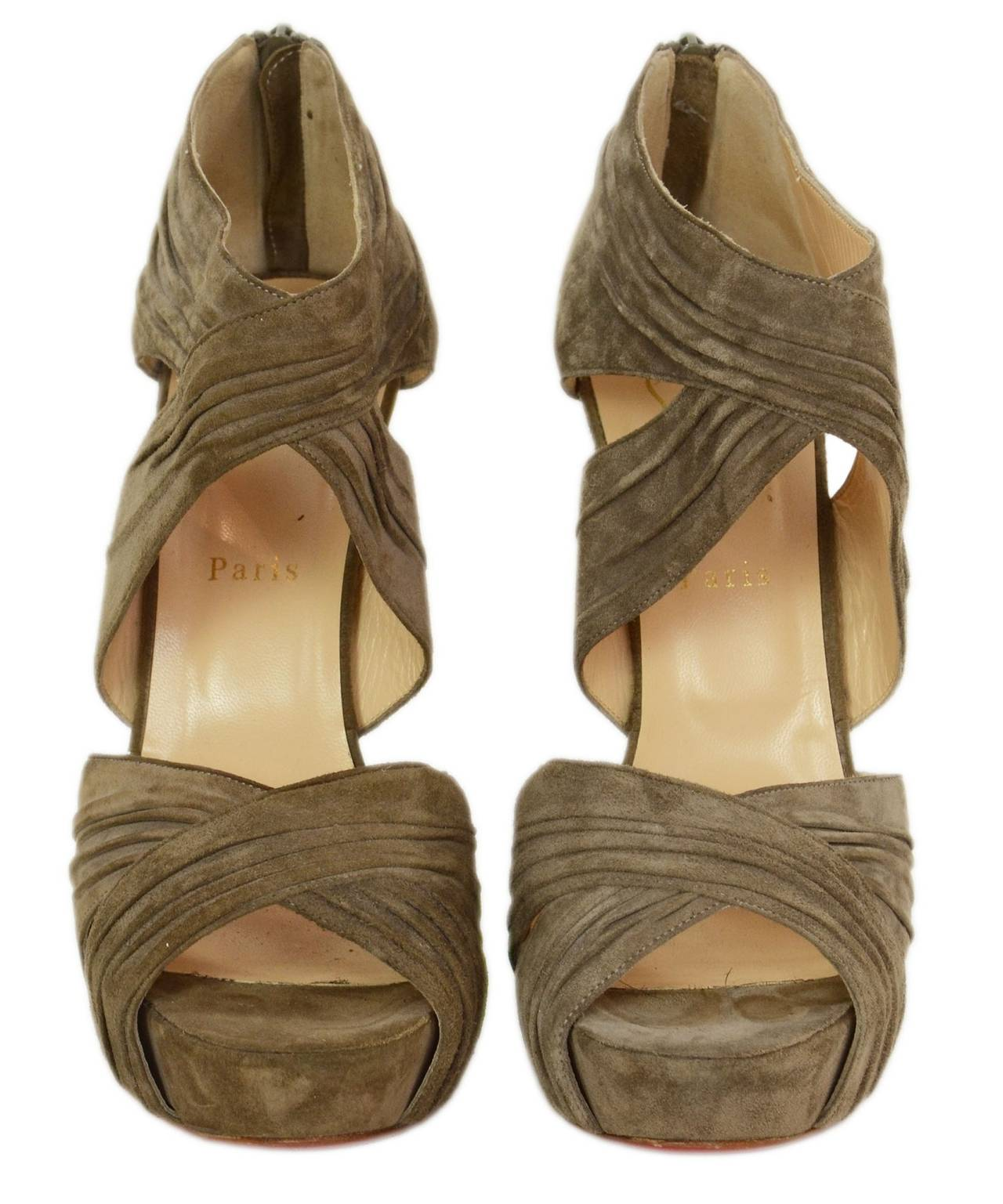 christian louboutin shoes cheap replica - CHRISTIAN LOUBOUTIN Ruched Taupe Suede Bandra 140 Pumps sz 40.5 at ...
