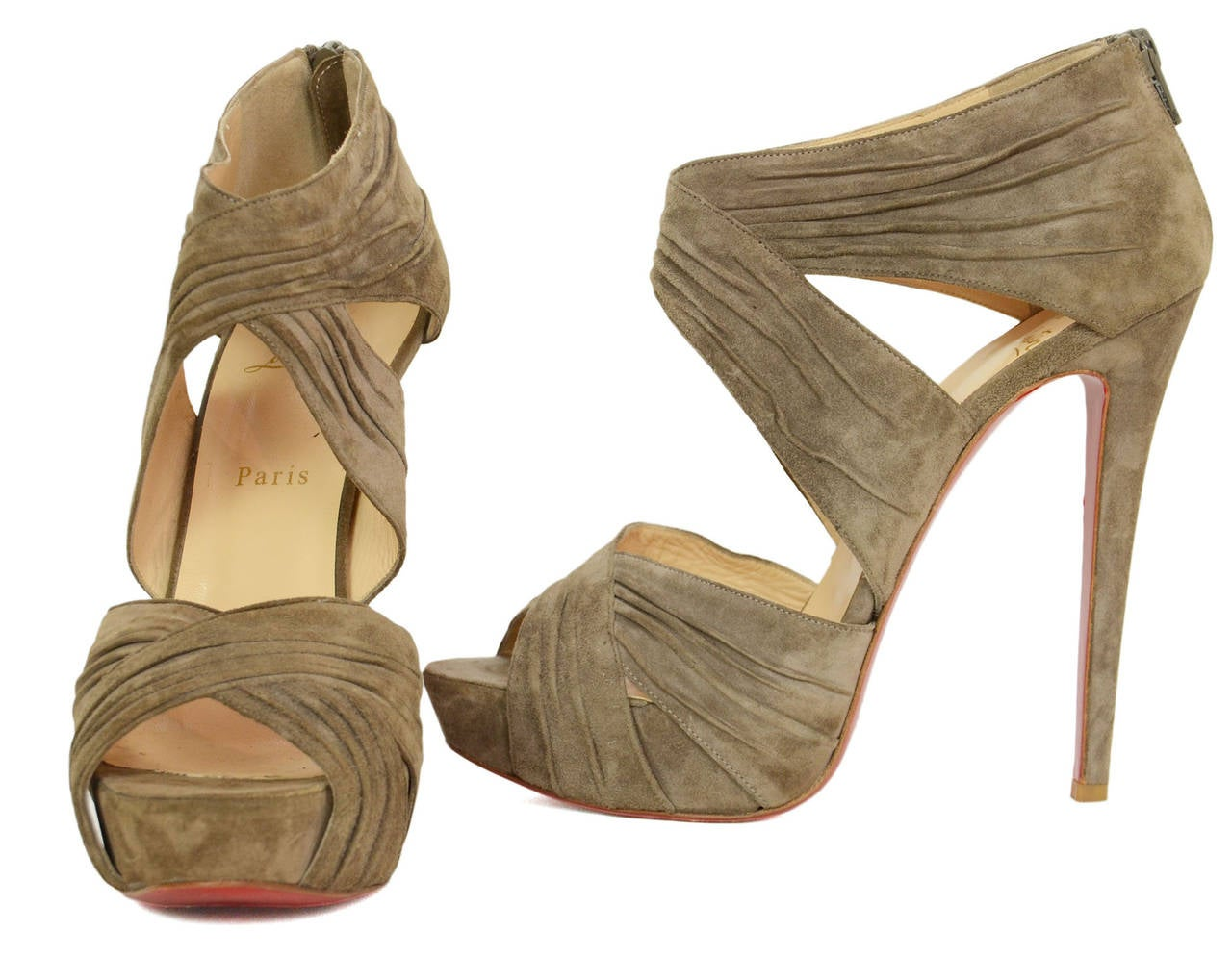 CHRISTIAN LOUBOUTIN Ruched Taupe Suede Bandra 140 Pumps sz 40.5 4
