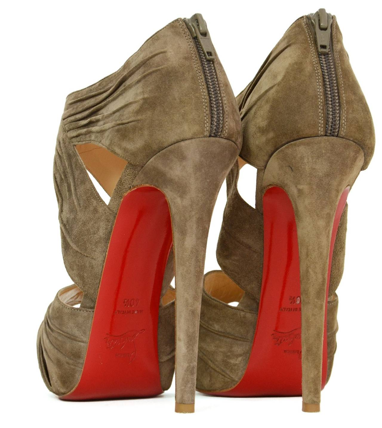 CHRISTIAN LOUBOUTIN Ruched Taupe Suede Bandra 140 Pumps sz 40.5 5
