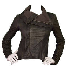 RICK OWENS Brown Distressed Leather Waterfall Front Jacket sz 6