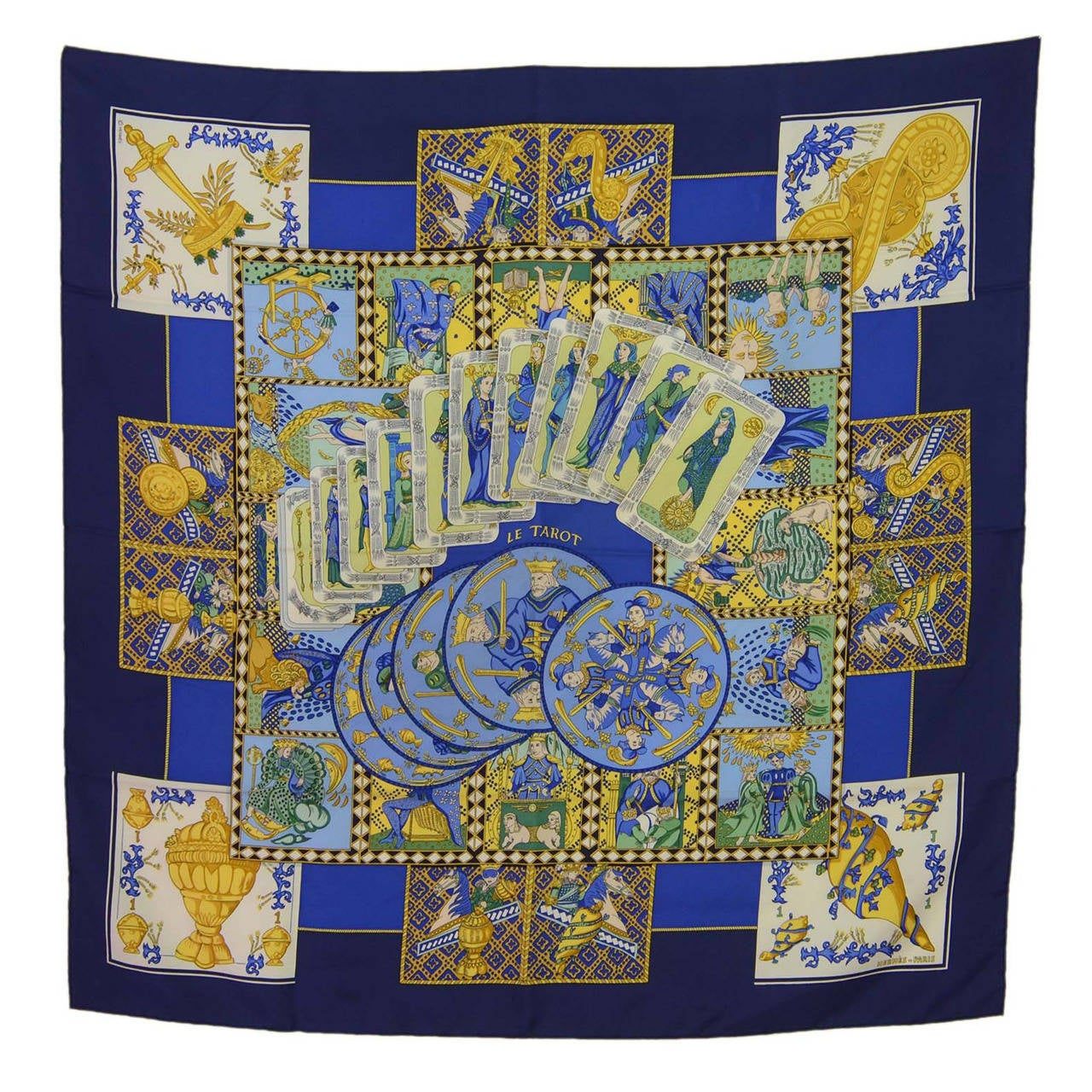 HERMES Blue Beige Yellow Le Tarot Silk Scarf 90 cm at