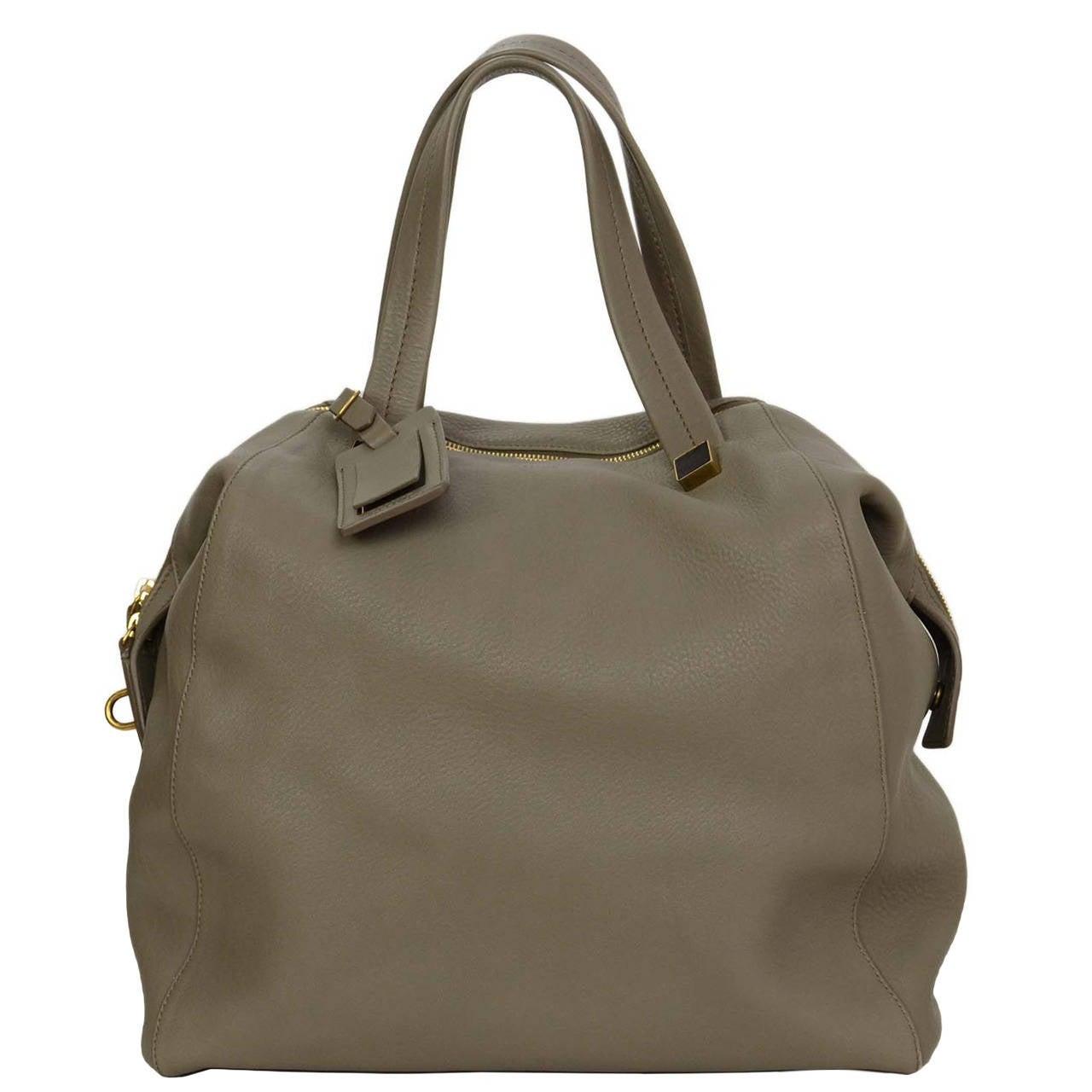 CELINE Grey Leather Bowler Bag GHW at 1stdibs