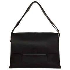 """HERMES Black Swift Leather """"Attelage II"""" Flap Shoulder Bag"""