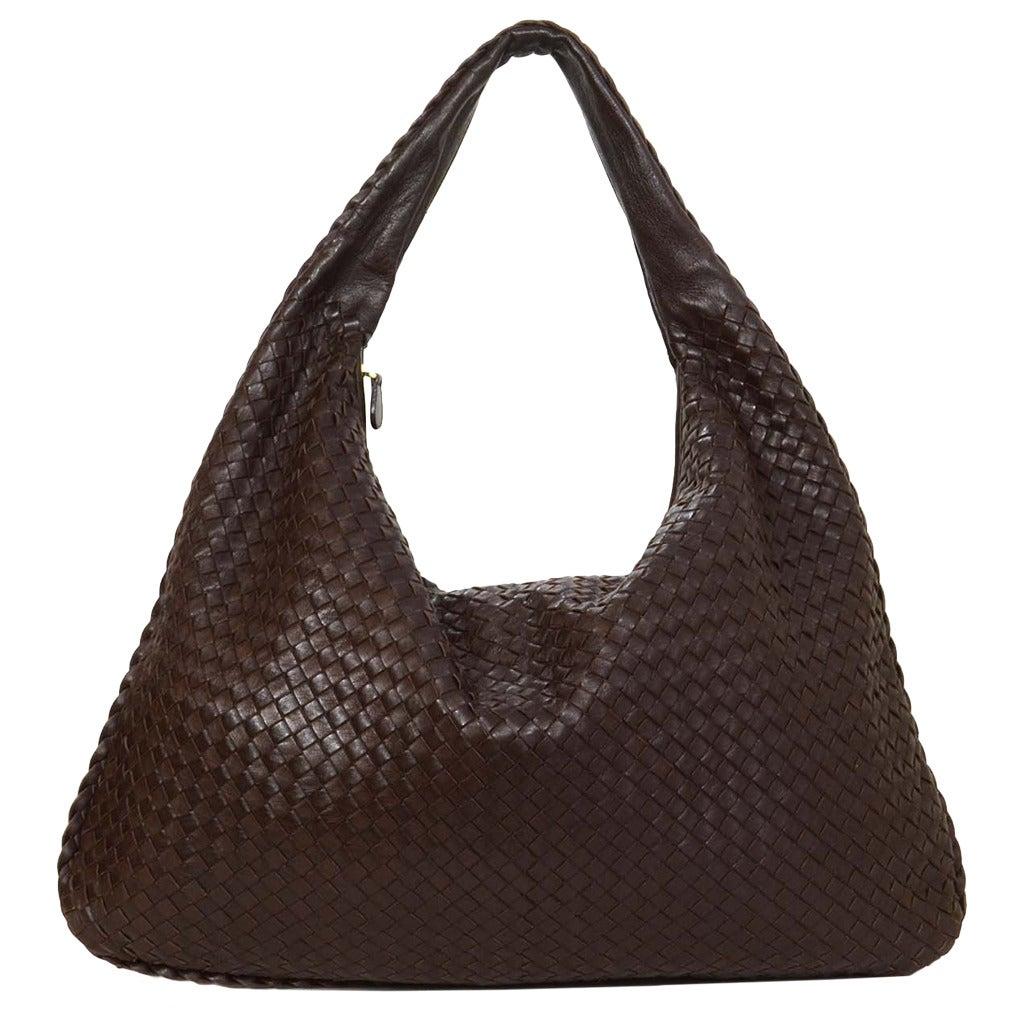 764509d55d28 BOTTEGA VENETA Ebano Woven Leather Maxi Intrecciato Hobo Bag rt ...