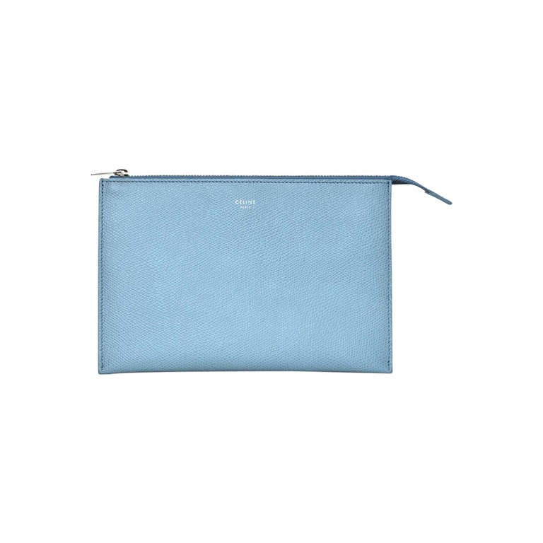 CELINE Powder Blue Small Zip Top Clutch Rt. $590 1