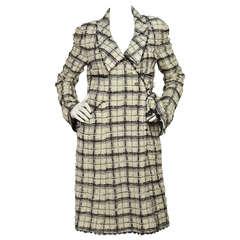 CHANEL 2005 Black/White Tweed Wrap Coat rt.$5,000  sz.42