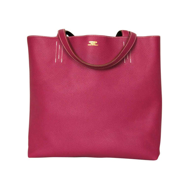 Hermes 2013 Tosca Pink and Brown Reversible Leather Double Sens ...