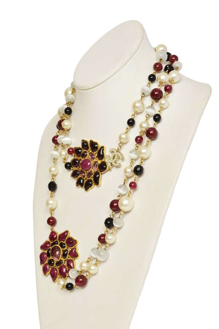 Chanel Burgundy/Black/White Long Beaded Necklace W/ Gripoix Pendants 2