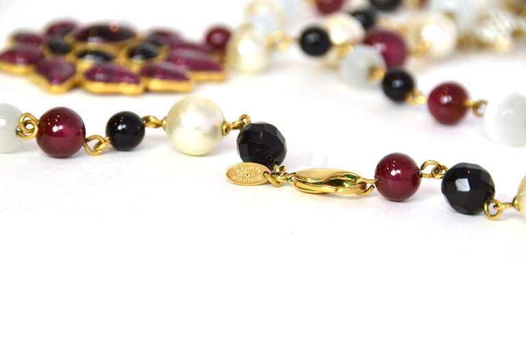 Chanel Burgundy/Black/White Long Beaded Necklace W/ Gripoix Pendants 4