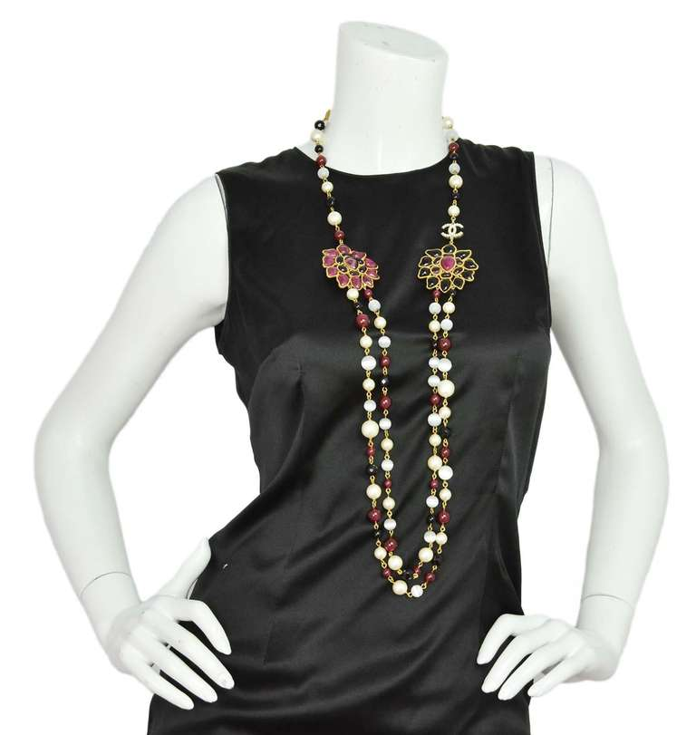 Chanel Burgundy/Black/White Long Beaded Necklace W/ Gripoix Pendants 5