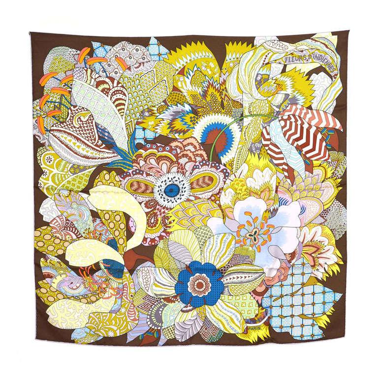 HERMES Brown Silk Abstract Floral Print FLEURS DINDIENNES