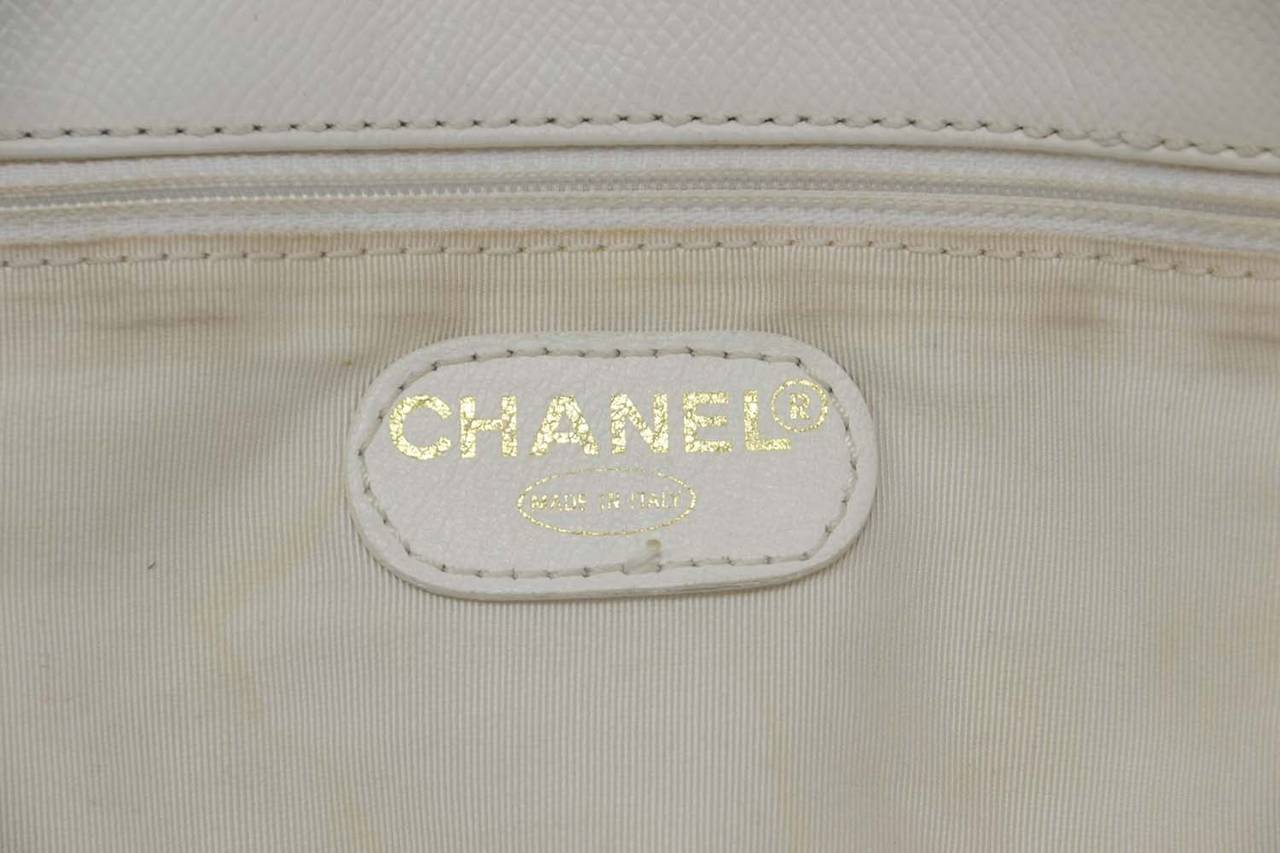 Chanel Vintage '90's White Caviar Duffle Bag GHW 6