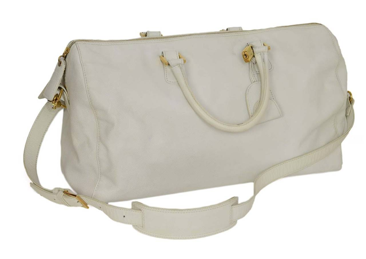 Chanel Vintage '90's White Caviar Duffle Bag GHW 8